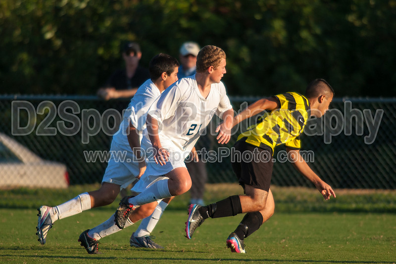 Mt Tabor Spartans vs RJR Demons Men's Varsity Soccer<br /> Forsyth Cup Soccer Tournament Consolation Match<br /> Saturday, August 24, 2013 at West Forsyth High School<br /> Clemmons, North Carolina<br /> (file 190156_QE6Q1096_1D2N)