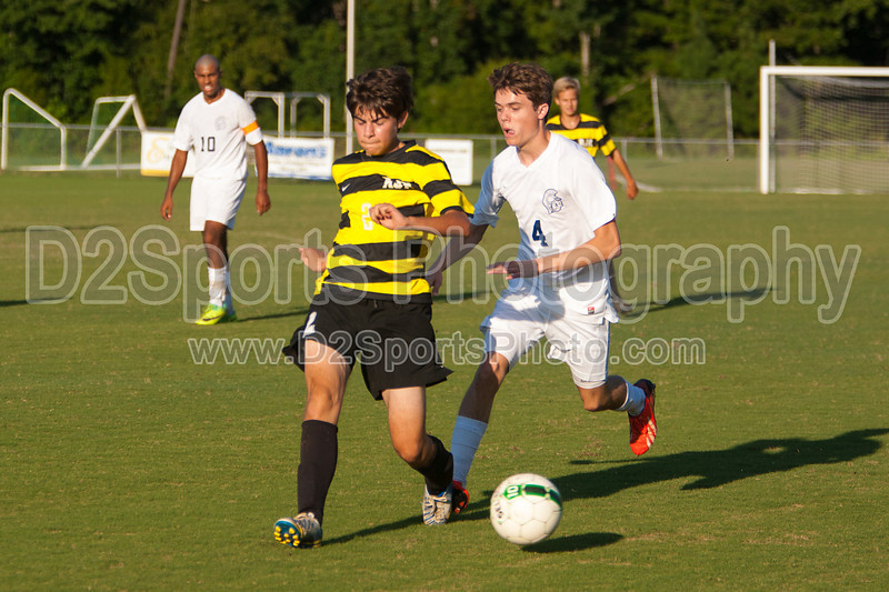 Mt Tabor Spartans vs RJR Demons Men's Varsity Soccer<br /> Forsyth Cup Soccer Tournament Consolation Match<br /> Saturday, August 24, 2013 at West Forsyth High School<br /> Clemmons, North Carolina<br /> (file 183619_803Q4501_1D3)