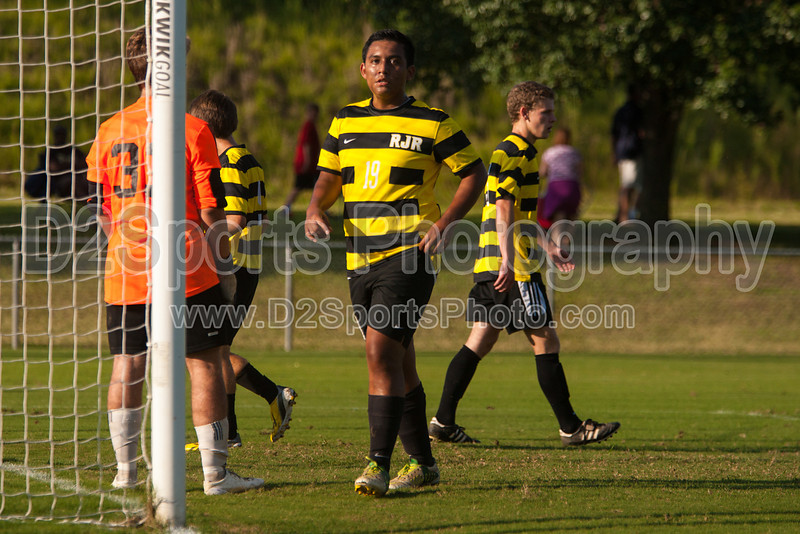 Mt Tabor Spartans vs RJR Demons Men's Varsity Soccer<br /> Forsyth Cup Soccer Tournament Consolation Match<br /> Saturday, August 24, 2013 at West Forsyth High School<br /> Clemmons, North Carolina<br /> (file 180819_803Q4419_1D3)