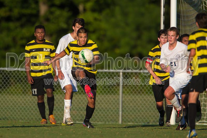 Mt Tabor Spartans vs RJR Demons Men's Varsity Soccer<br /> Forsyth Cup Soccer Tournament Consolation Match<br /> Saturday, August 24, 2013 at West Forsyth High School<br /> Clemmons, North Carolina<br /> (file 190155_BV0H4101_1D4)