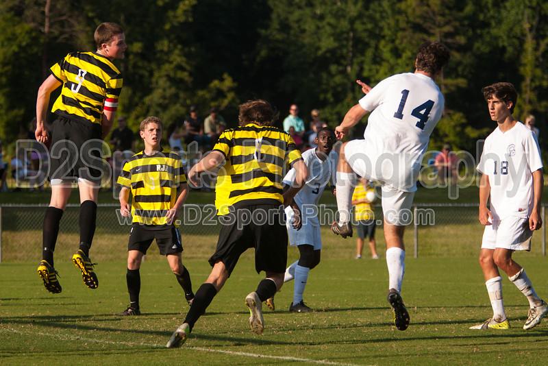 Mt Tabor Spartans vs RJR Demons Men's Varsity Soccer<br /> Forsyth Cup Soccer Tournament Consolation Match<br /> Saturday, August 24, 2013 at West Forsyth High School<br /> Clemmons, North Carolina<br /> (file 181217_803Q4431_1D3)