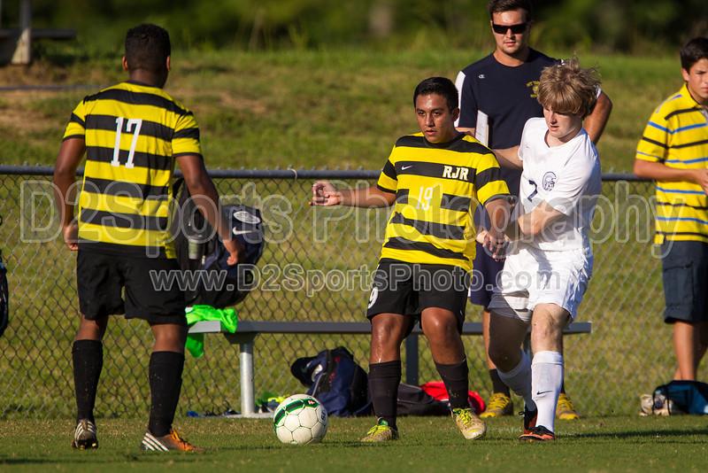 Mt Tabor Spartans vs RJR Demons Men's Varsity Soccer<br /> Forsyth Cup Soccer Tournament Consolation Match<br /> Saturday, August 24, 2013 at West Forsyth High School<br /> Clemmons, North Carolina<br /> (file 181933_BV0H3911_1D4)