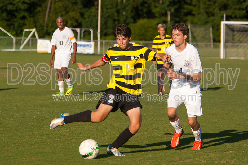 Mt Tabor Spartans vs RJR Demons Men's Varsity Soccer<br /> Forsyth Cup Soccer Tournament Consolation Match<br /> Saturday, August 24, 2013 at West Forsyth High School<br /> Clemmons, North Carolina<br /> (file 183619_803Q4500_1D3)
