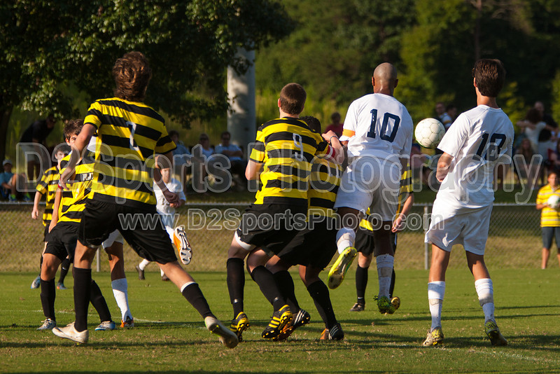 Mt Tabor Spartans vs RJR Demons Men's Varsity Soccer<br /> Forsyth Cup Soccer Tournament Consolation Match<br /> Saturday, August 24, 2013 at West Forsyth High School<br /> Clemmons, North Carolina<br /> (file 180856_803Q4422_1D3)