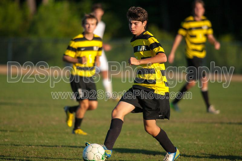 Mt Tabor Spartans vs RJR Demons Men's Varsity Soccer<br /> Forsyth Cup Soccer Tournament Consolation Match<br /> Saturday, August 24, 2013 at West Forsyth High School<br /> Clemmons, North Carolina<br /> (file 185535_QE6Q1084_1D2N)