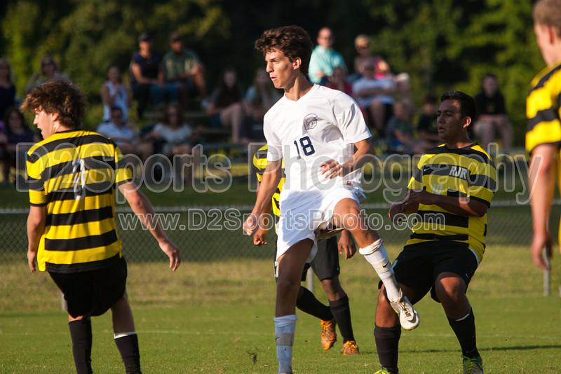 Mt Tabor Spartans vs RJR Demons Men's Varsity Soccer<br /> Forsyth Cup Soccer Tournament Consolation Match<br /> Saturday, August 24, 2013 at West Forsyth High School<br /> Clemmons, North Carolina<br /> (file 181524_803Q4453_1D3)