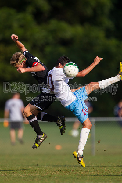 Reagan Raiders vs North Forsyth Vikings Men's Varsity Soccer<br /> Forsyth Cup Soccer Tournament<br /> Friday, August 23, 2013 at West Forsyth High School<br /> Clemmons, North Carolina<br /> (file 172323_BV0H3167_1D4)