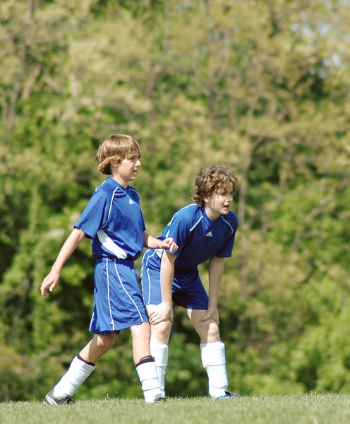 Stephen and Alex ready to play soccer - 2006