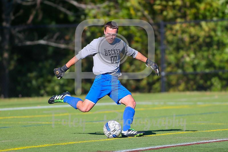 Becker College Hawks goalkeeper Sam Majewski (00)