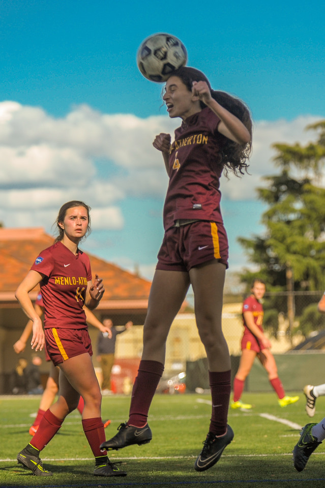 Menlo-Atherton Girl's Soccer Powered over  Palo Alto High, 3-Nill,  February 25, 2017.