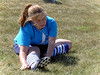 Jessica stretching before soccer match at Cat Fields