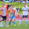 Midfield Spirit player Joanna Lohman turns the ball away from Kealia Ohai, the 2015 Houston Dash MVP.