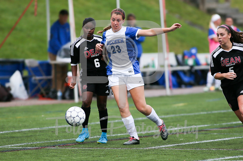 Becker College Hawks forward/midfielder Adrianna Lake (23) Dean College Kiara Andreozzi (6)