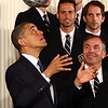 President Obama heads a soccer ball at a White House reception for the Los Angeles Galaxy soccer team