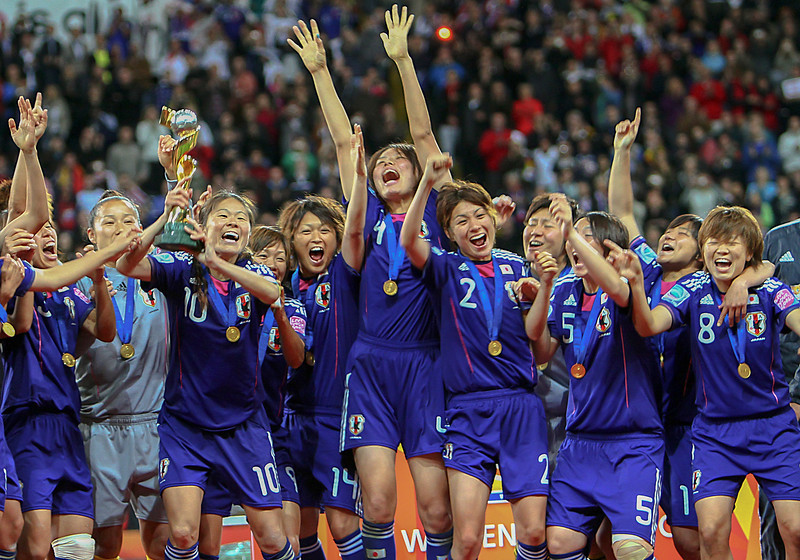 Japanese women soccer team after winning the 2006 FIFA World Cup in Frankfurt, Germany.