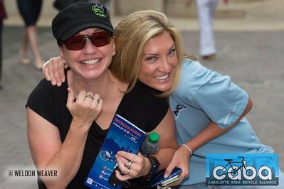 Angela Olsen, Sandy Kreif. goNC! B-Cycle launch Charlotte, NC. July 12, 2012.