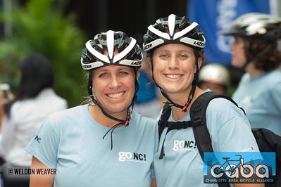 Kimberly Welsand, Arleigh Jenkins. goNC! B-Cycle launch Charlotte, NC. July 12, 2012.