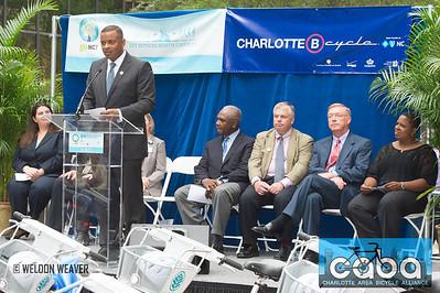 Charlotte Mayor Anothony Foxx. goNC! B-Cycle launch Charlotte, NC. July 12, 2012.