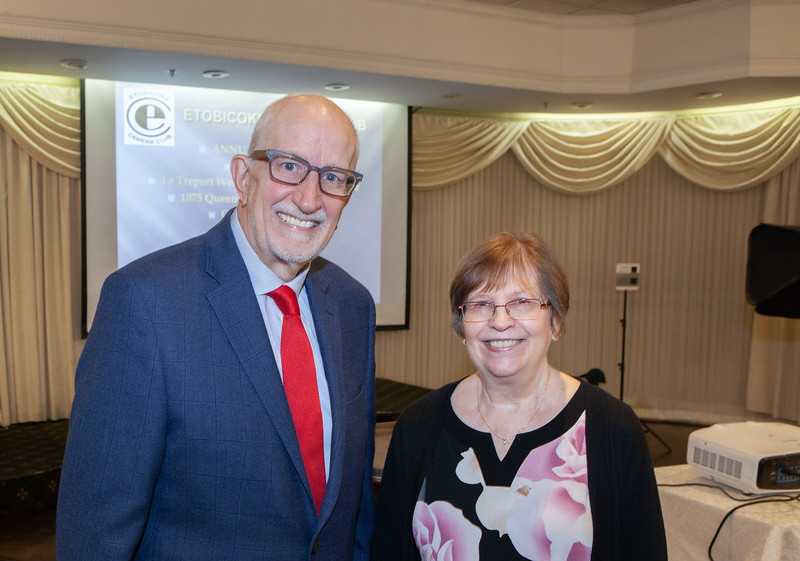 Past President and Banquet Emcee John Stevenson with Banquet Chair Sharon Eyolfson