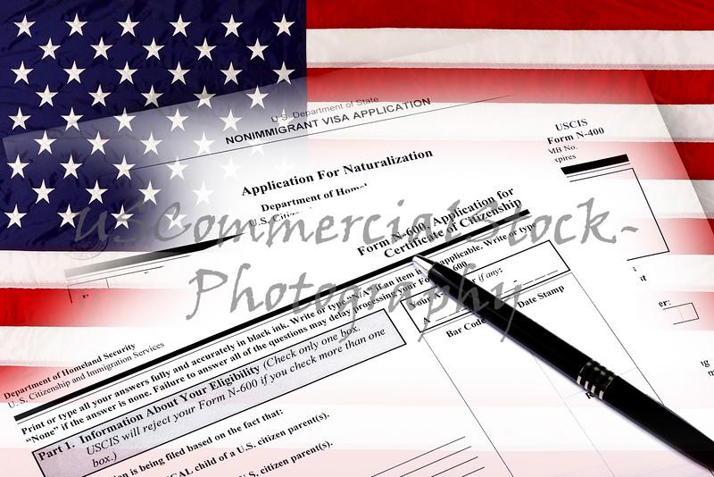 USA Immigration Applications on USA Flag Closeup
