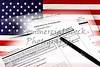 USA Immigration Applications on USA Flag Closeup