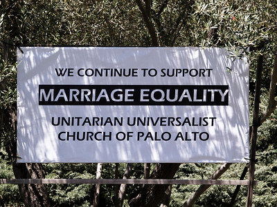 Sign in front of the UU Church of Palo Alto (new on 26 May 09)