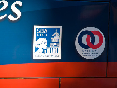 Sponsorship decals on the bus.