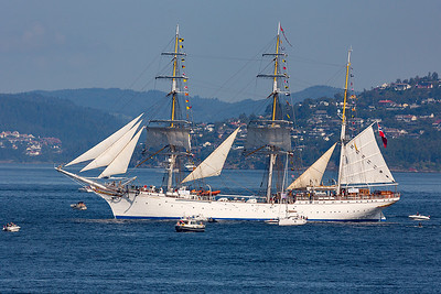 Statsraad Lehmkuhl departing Bergen on the next leg of the Tall Ships Race 2019.