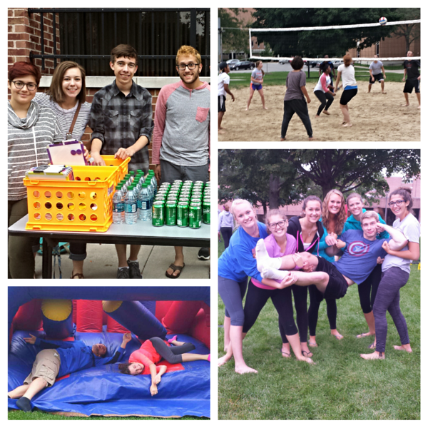 Residents of Offenhauer,  McDonald, and Falcon Heights meet up for an intense volleyball tournament, free food, and inflatables!