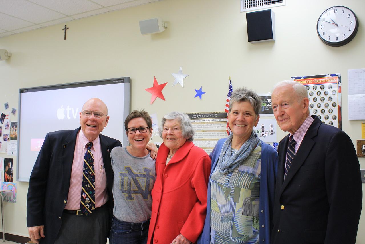 """Michael Smith (from left), Notre Dame teacher Kathleen """"KC"""" Reichert, Dickie Olsen, Patricia Smith and Ken Olsen."""
