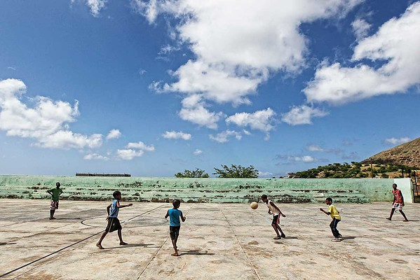 Children playing football Cabo Verde