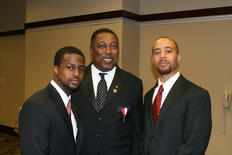 New Initiates Clark Payne and William Judson visit with former Southeastern Province Polemarch and Joseph R. Jenkins Awardee, James E. Freeman.