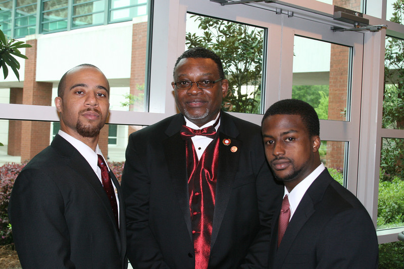 New Initiates Clark Payne and William Judson visit with former Southeastern Province Polemarch and Joseph R. Jenkins Awardee, Solomon S. Bradley.
