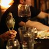 Bird and wine glasses