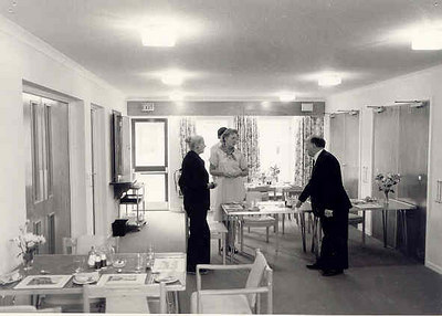 <center><font size=3><u> - Millstream Day Centre -  </u></font> (BS0991)  Opening Day in 1983. Left to right Diana Rosser, Mary Starling and Leonard Stock. </center>