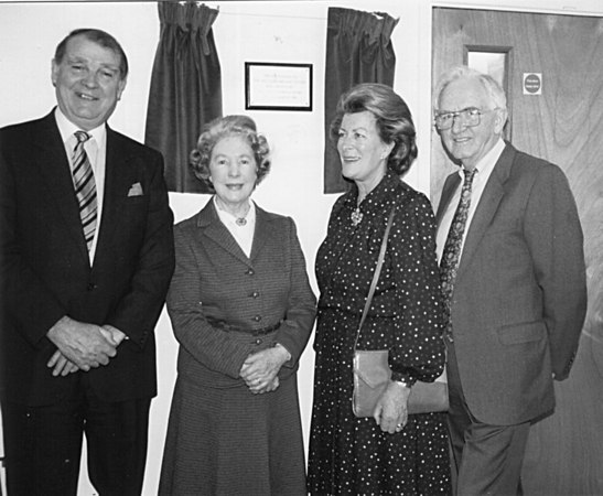 <font size=3><u> - Opening of the Mill Stream Day Centre - </u></font> (BS0135)  Gerald Howard on right. Lady Pamela Hicks, Jane Ellison and Barry Blakely from Ewelme.    Plaque in Day Centre will tell us when it opened.