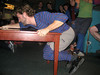 Alex successfully completing the length ways traverse of the table