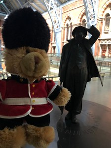 By the statue of Sir John Betjeman at St Pancras International
