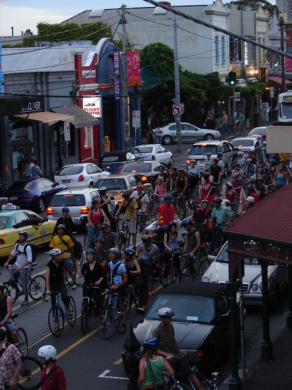 Critical Mass cyclists reclaiming Brunswick Street