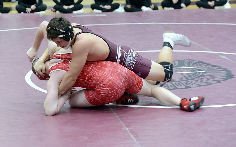 Berthoud 182-pounder Anthony Trojahn starts to turn Glenwood Spring's Jason Spoon, leading to a pin in 1:29 during the Soeby Classic at BHS on Saturday.