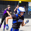 Record-Eagle/Brett A. Sommers Frankfort's Olivia Tomaszewski throws out a Coleman baserunner during Tuesday's Division 4 quarterfinal at Lincoln Elementary in Cadillac. Coleman won 1-0.