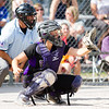 Record-Eagle/Brett A. Sommers Frankfort catcher Keziah Stockdale awaits a pitch during Tuesday's Division 4 quarterfinal against Coleman at Lincoln Elementary in Cadillac. Coleman won 1-0.
