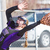 Record-Eagle/Brett A. Sommers Frankfort's Haley Myers makes an infield catch during Wednesday's softball game against Kalkaska. Kalkaska swept Frankfort, winning 8-3 and 9-0.
