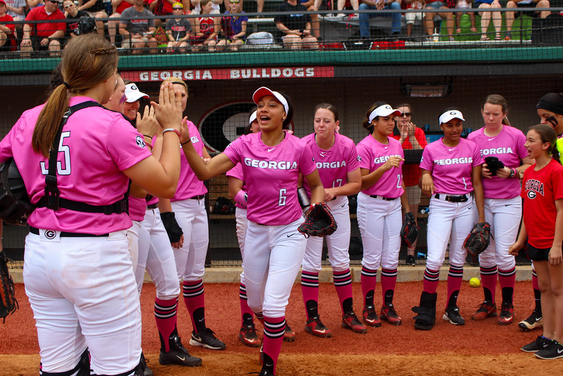 Georgia outfielder Sydni Emanuel (6) high fives her teammates during introductions during an NCAA softball game between Georgia and Ole Miss at Jack Turner Stadium on April 30, 2016 in Athens, Ga.(Photo by Emily Selby)
