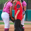 Georgia pitcher Chelsea Wilkinson (20) and Georgia catcher Katie Browne (35) talk with Georgia assistant coach Rachele Fico during an NCAA softball game between Georgia and Ole Miss at Jack Turner Stadium on April 30, 2016 in Athens, Ga.(Photo by Emily Selby)