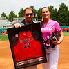 Georgia pitcher Chelsea Wilkinson (20) poses for a photo with her dad during senior day at Jack Turner Stadium on April 30, 2016 in Athens, Ga. (Photo by Emily Selby)