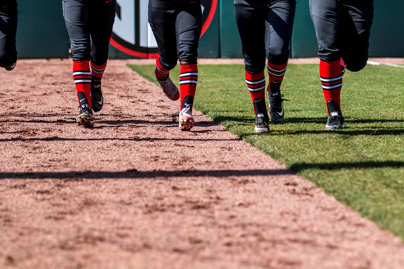 Members of the Georgia softball team during the Bulldogs' game against Dayton at Jack Turner Field in Athens, Ga., on Sunday, Feb. 19, 2017. (John Paul Van Wert)