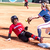 Georgia outfielder Brea Dickey (23) and Dayton infielder Kailee Budicin (12) during the Bulldogs' game against Dayton at Jack Turner Field in Athens, Ga., on Sunday, Feb. 19, 2017. (John Paul Van Wert)