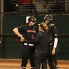 Georgia pitcher Mary Wilson Avant (5) and head coach Lu Harris-Champer during the Bulldogs' game against Kentucky at Jack Turner Stadium in Athens, Ga. on Sunday, March 19, 2017. (Photo by Cory A. Cole)