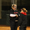 Georgia pitcher Brittany Gray (18) and head coach Lu Harris-Champer during the Bulldogs' game against Louisiana-Monroe at Jack Turner Stadium in Athens, Ga., on Saturday, February 18, 2017. (Photo by Cory A. Cole)